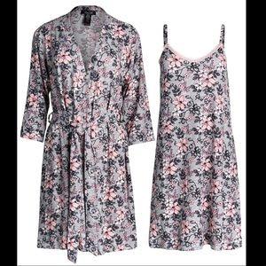 Soft Hacci Pajama Chemise night gown & Robe set